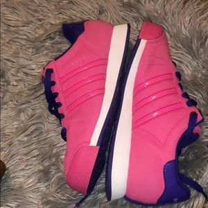 Pink Adidas with white and purple accent size 5